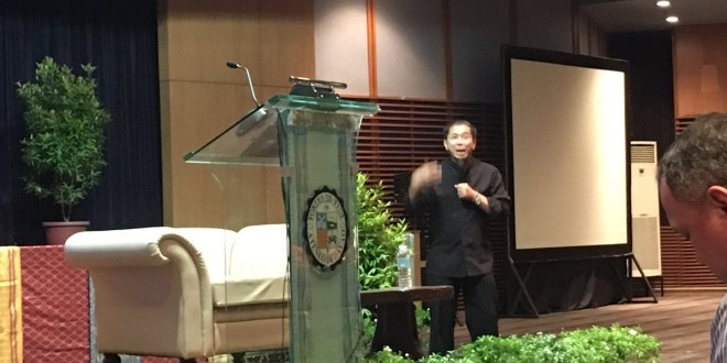 Fr. Manuel Flores explaining how prayer and exercise can go hand-in-hand. Photo taken from @ADDU_Official