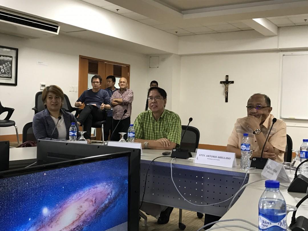 From left to right: Atty. Angela Librado, Atty. Rene Sarmiento, and Atty. Antonio Arellano during the press conference.